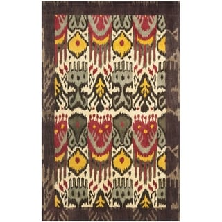 Handmade Ikat Cream/ Brown Wool Rug (6' x 9')