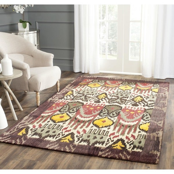 Safavieh Handmade Ikat Cream/ Brown Wool Rug (6' x 9')