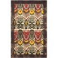 Handmade Ikat Cream/ Brown Wool Rug (4' x 6')
