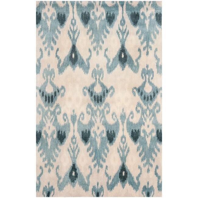 Handmade Ikat Silver/ Blue Wool Rug (9' x 12')
