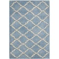 Handmade Moroccan Blue Grey Wool Rug (3&#39; x 5&#39;)