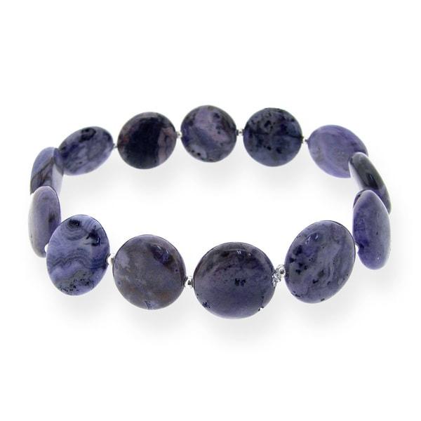 Glitzy Rocks Sterling Silver Amethyst Stretch bracelet