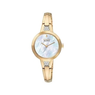 Citizen Women's Silhouette Crystal Mother of Pearl Dial Rose Gold Watch