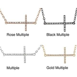 La Preciosa Sterling Silver Sideways Cross Multiple CZ Necklace