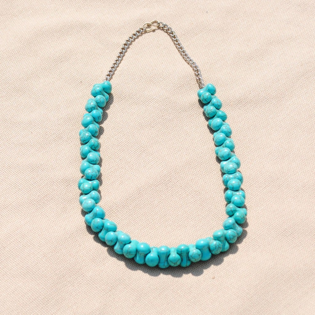 Handcrafted Tribal Teal Beaded Necklace (Afghanistan)