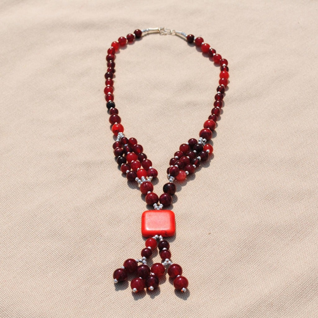 Handcrafted Tribal S-Hook-Clasp Red Beaded Necklace (Afghanistan)