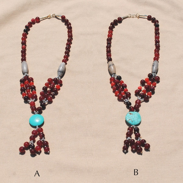 Handmade Tribal Red/ Teal Necklace (Afghanistan) 9634589