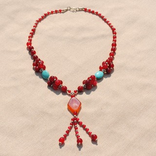 Handcrafted Tribal Red/ Amber Beaded Necklace (Afghanistan)