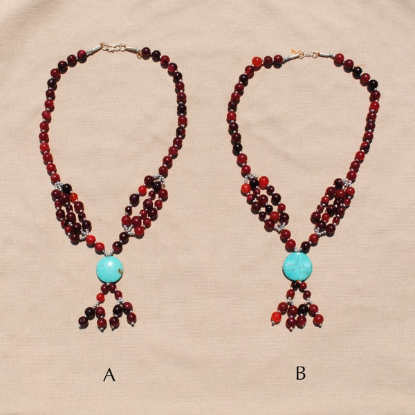 Handcrafted Tribal Red/ Grey Beaded Necklace (Afghanistan)