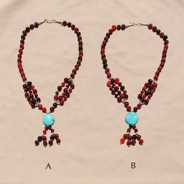 Handmade Tribal Red/ Grey Beaded Necklace (Afghanistan) 9634595
