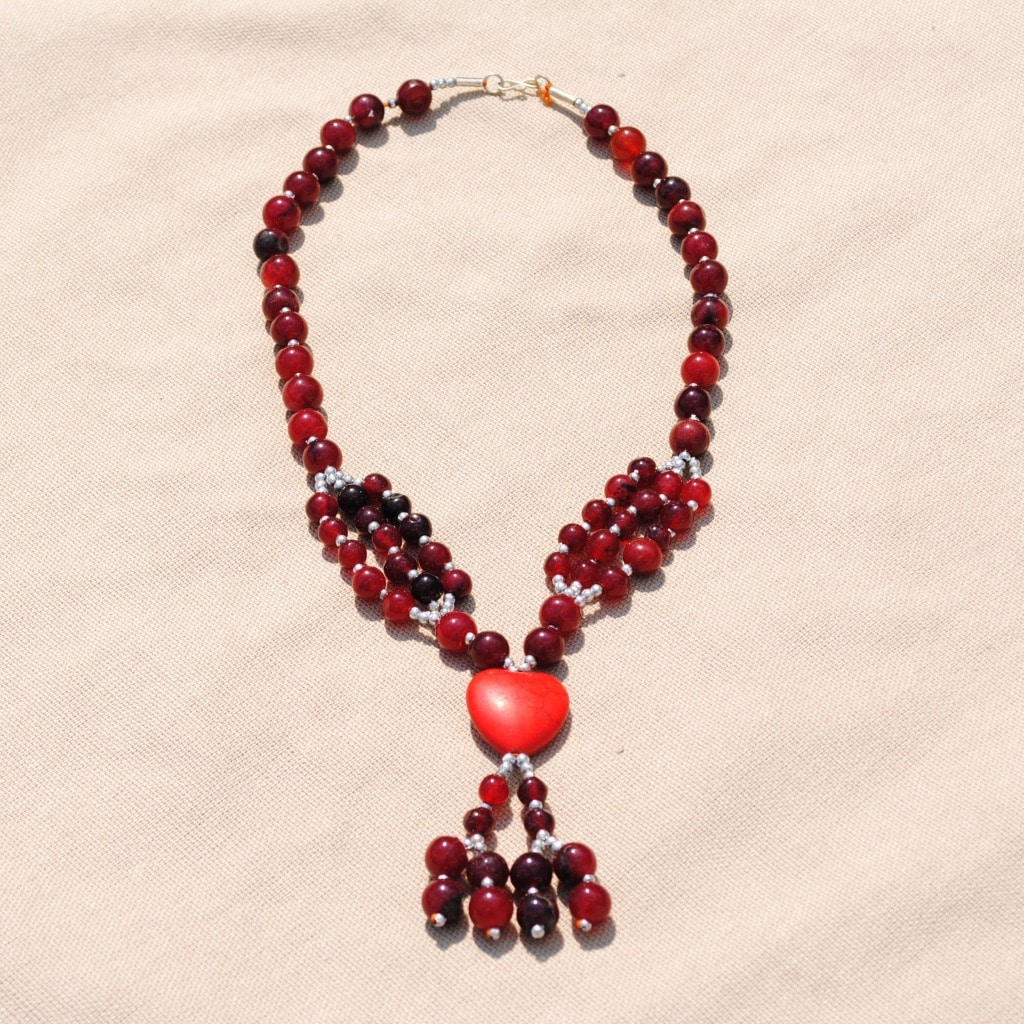 Handcrafted Tribal Red Beaded Heart Necklace (Afghanistan)