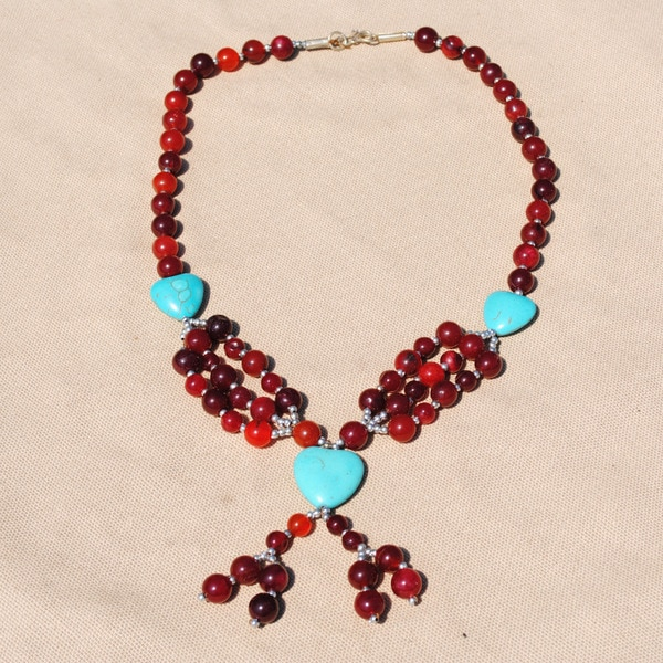 Handcrafted Tribal Red/ Teal Heart Beaded Necklace (Afghanistan)