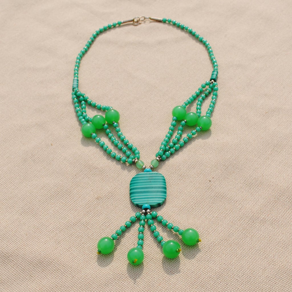 Handcrafted Tribal Light Green Beaded Necklace (Afghanistan)