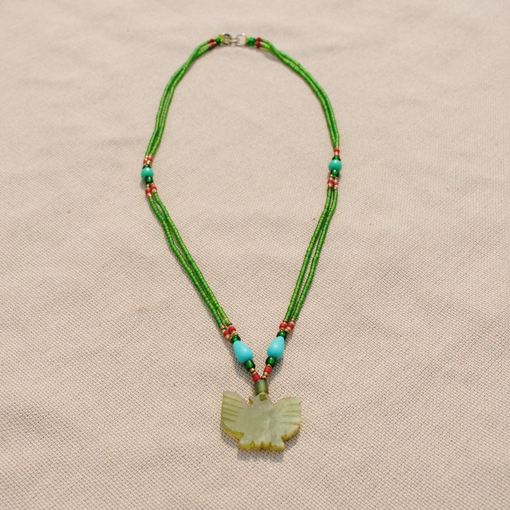 Handcrafted Tribal Green Beaded Eagle Necklace (Afghanistan)