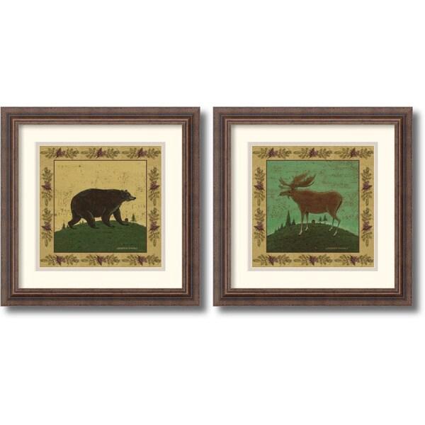 Warren Kimble 'Folk Bear and Moose' Framed Art Print Set
