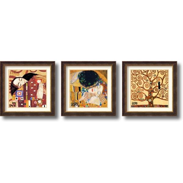 Gustav Klimt 'Fulfillment, Kiss and Tree of Life' Framed Art Print Set 29 x 29-inch (Each)