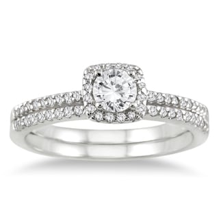 10k Gold 3/5ct TDW White Diamond Halo Bridal Ring Set (I-J, I1-I2)