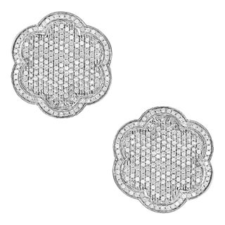 10k White Gold 1 1/6ct TDW Diamond Pave Earrings