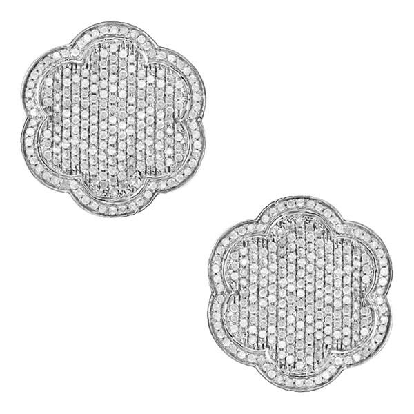 10k White Gold 1 1/6ct TDW Diamond Pave Earrings