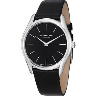 Stuhrling Original Men's Ascot Classic Ultra Soft Black Leather Strap Watch