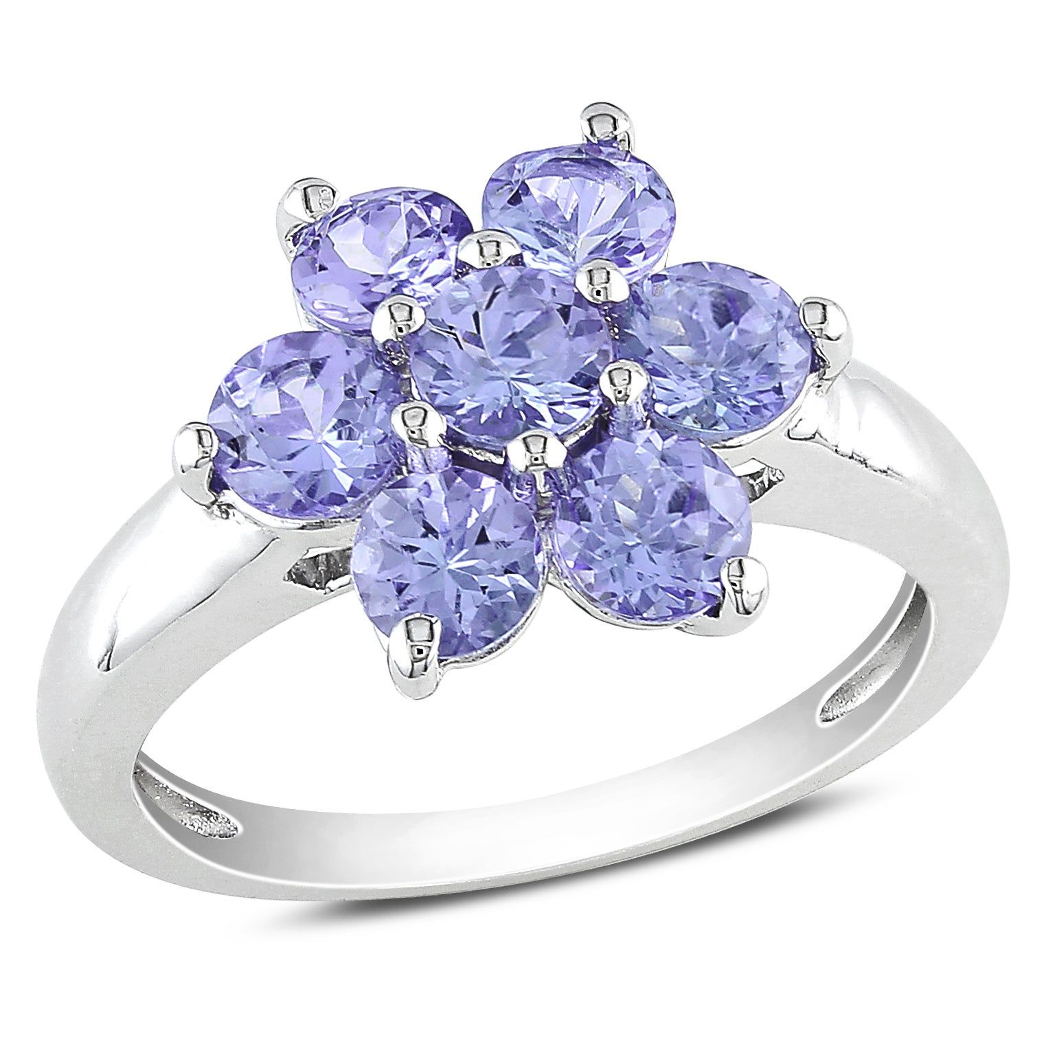 Miadora Sterling Silver Round Tanzanite Flower Ring Overstock Shopping To