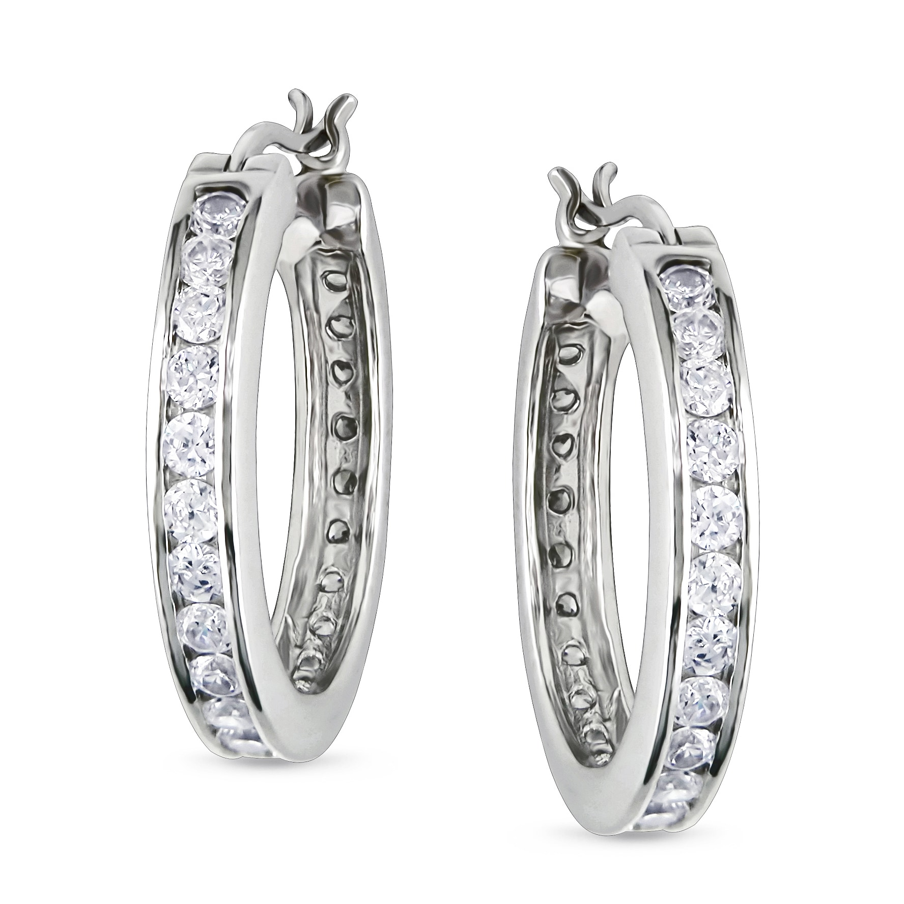 Miadora Sterling Silver Cubic Zirconia Hoop Earrings