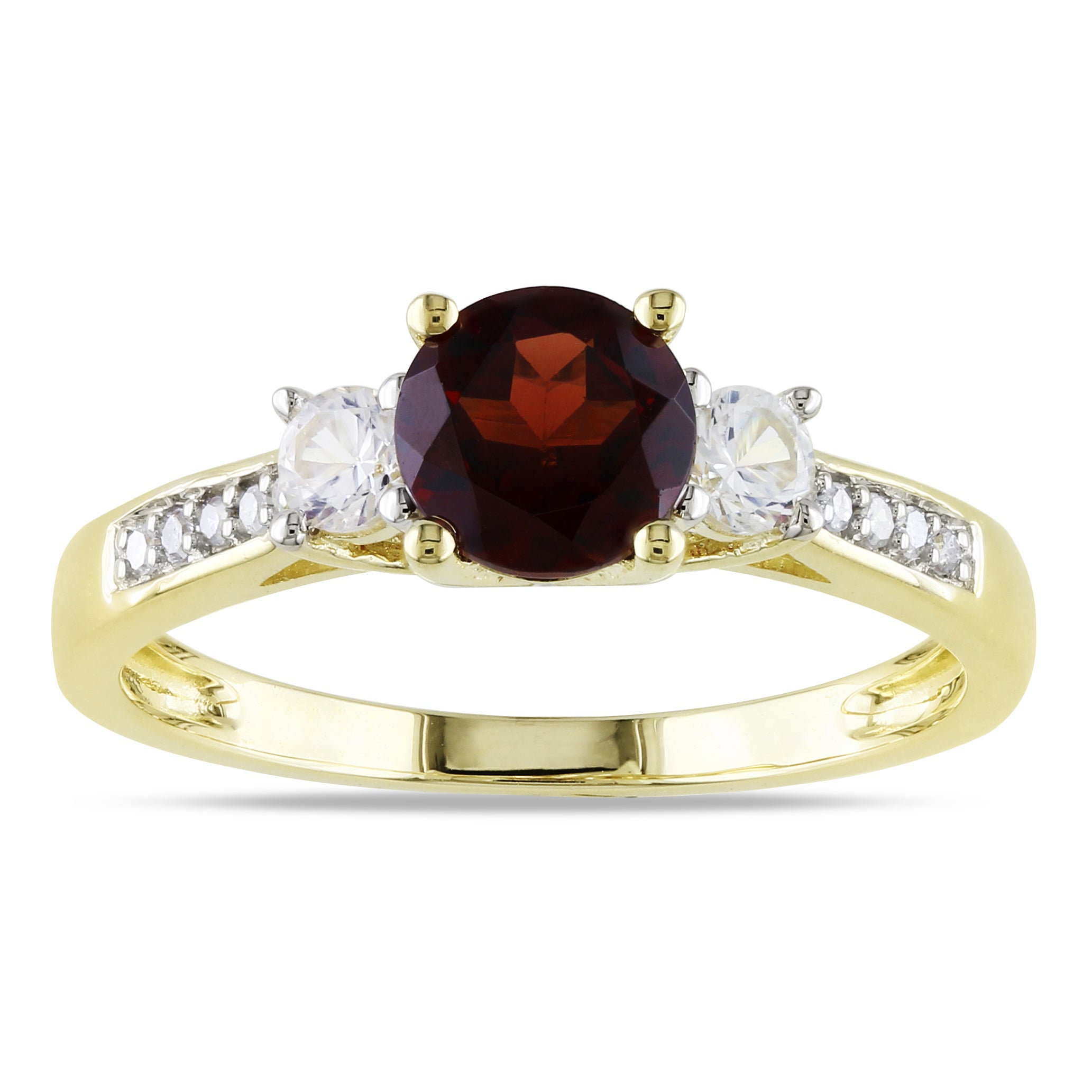Miadora 10k Yellow Gold Garnet, White Sapphire & Diamond Ring (H-I, I2-I3)
