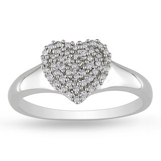 Miadora 10k White Gold 1/6ct TDW Diamond Heart Ring (H-I, I2-I3)