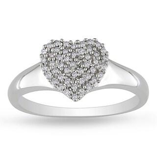 Miadora 10k White Gold 1/6ct TDW Diamond Heart Ring (H-I, I2-I3)