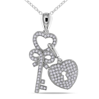 Miadora Sterling Silver Cubic Zirconia Heart and Key Necklace