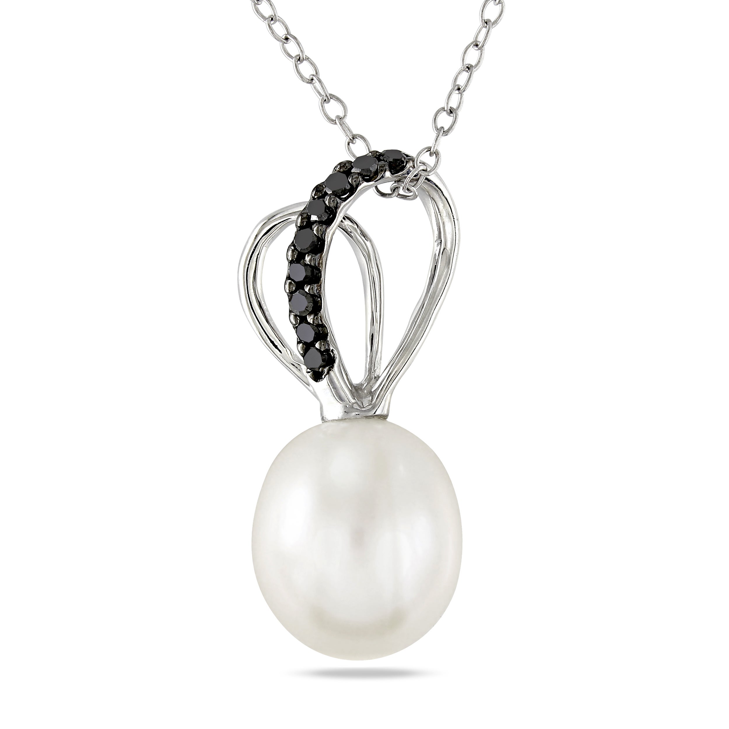 Miadora Sterling Silver Pearl and 1/10ct TDW Black Diamond Necklace