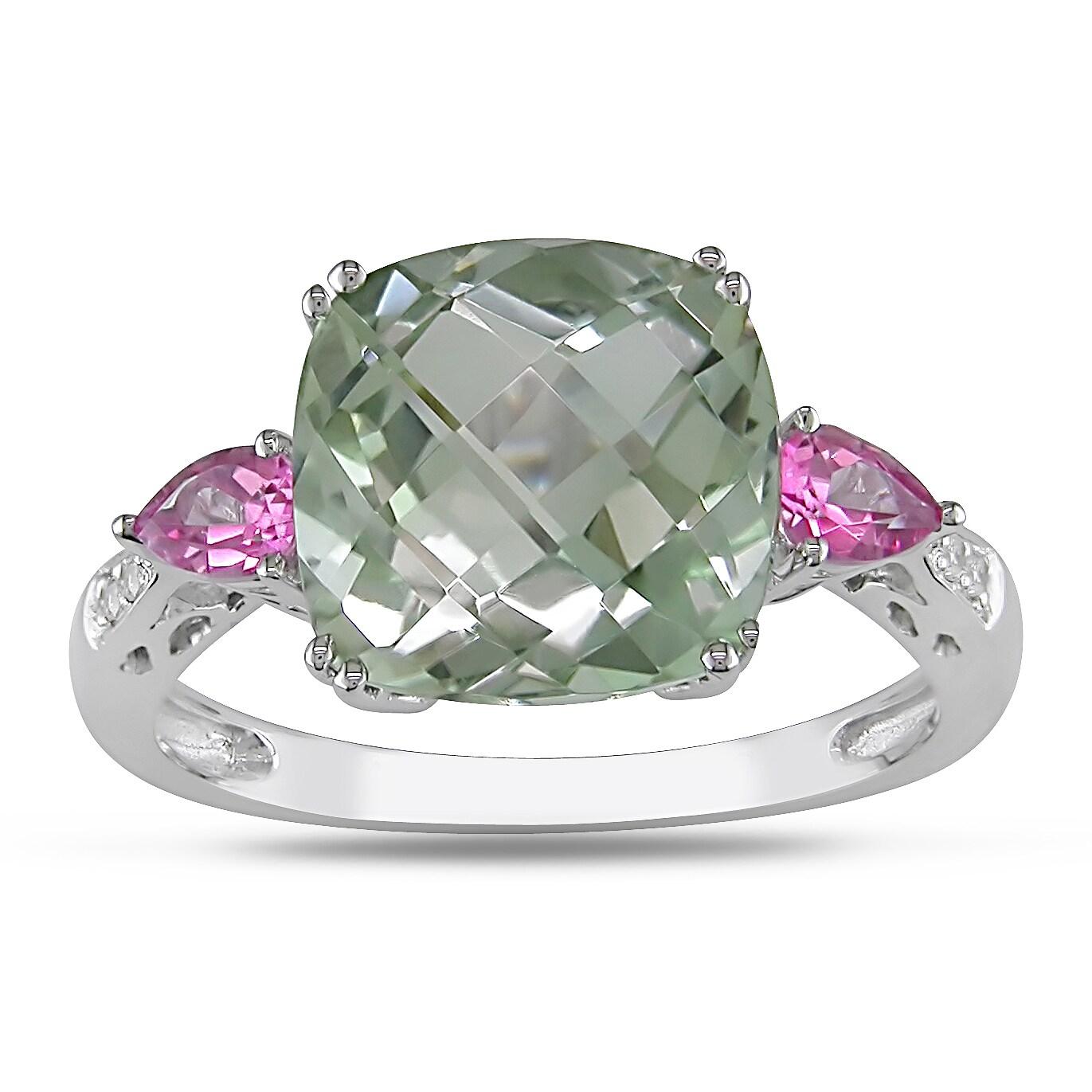 Miadora 10k White Gold Gemstone and Diamond Ring (H-I, I2-I3)