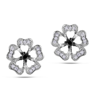 Miadora Sterling Silver 1/4ct TDW Black and White Diamond Flower Earrings (H-I, I3)