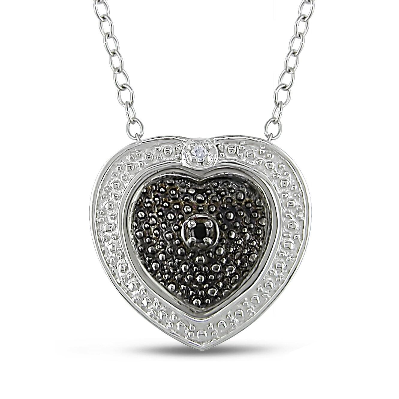Miadora Sterling Silver Black and White Diamond Heart Necklace
