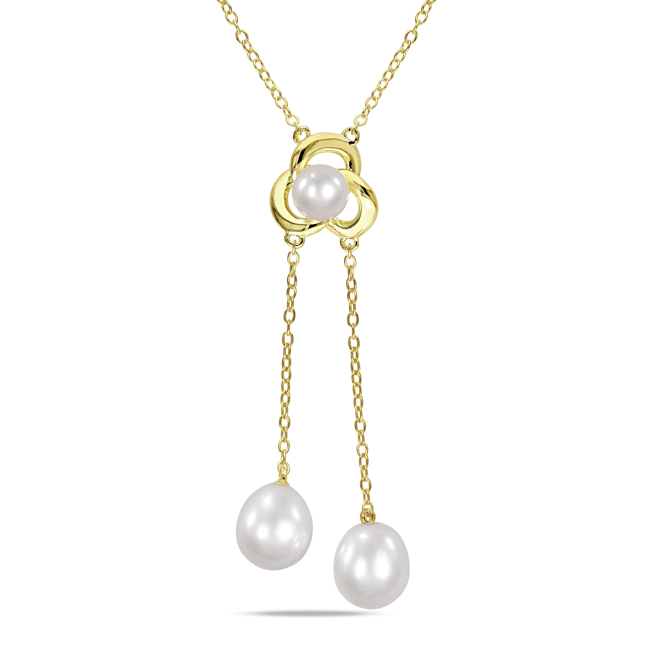 Miadora Yellow Rhodium-plated Silver Freshwater Pearl Necklace