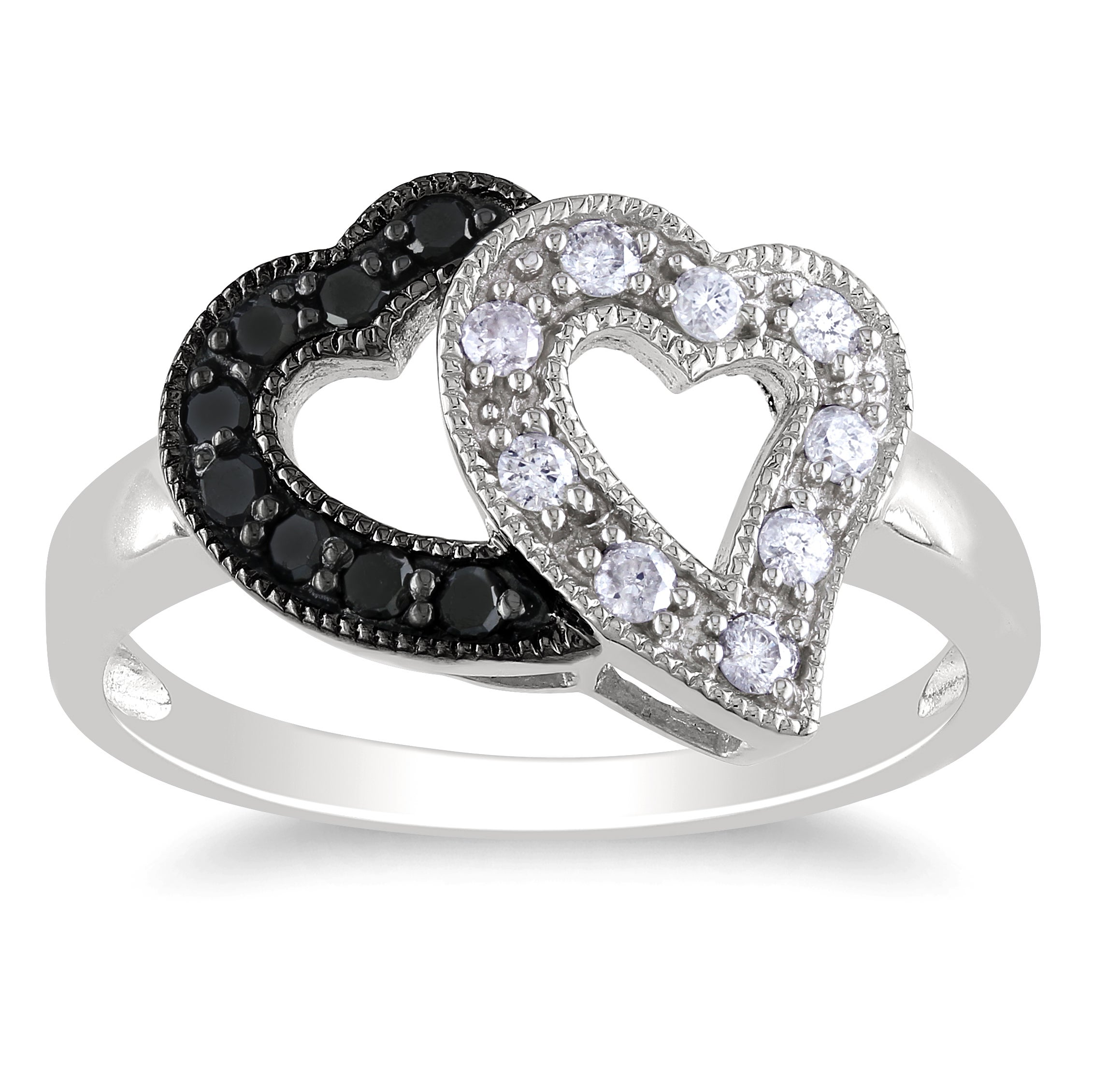 Miadora Sterling Silver 1/4ct TDW Black and White Diamond Double-heart Ring