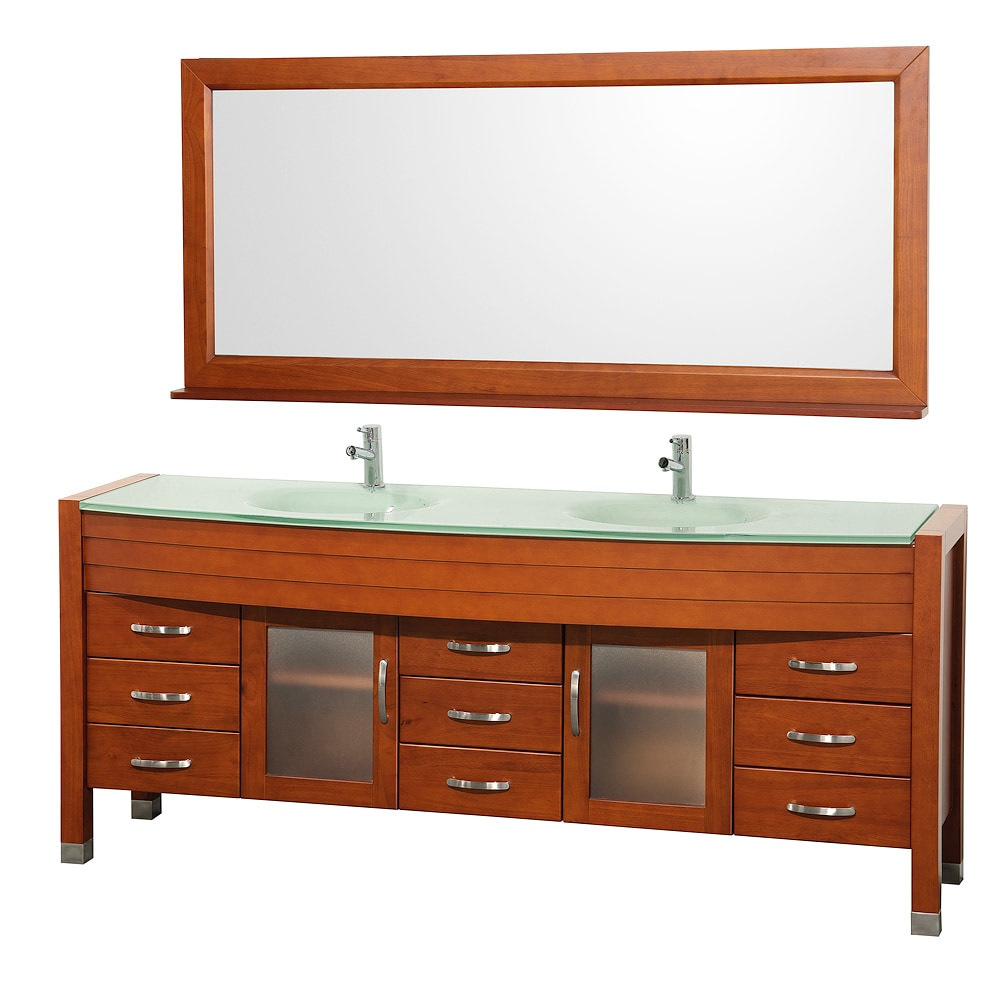 Daytona 78 inch Cherry Double Bathroom Vanity Set by Wyndham Collection