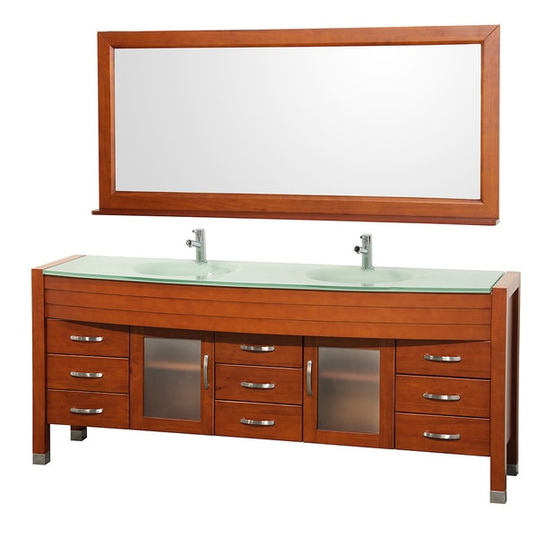 Wyndham Collection Daytona 78 inch Cherry Double Bathroom Vanity Set by Wyndham Collection