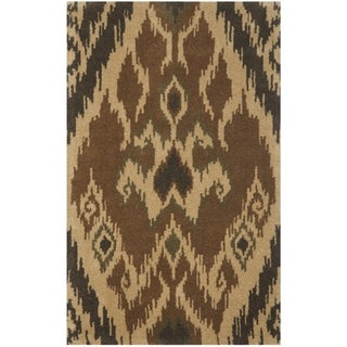 Handmade Marrakesh Brown New Zealand Wool Rug (4' x 6')