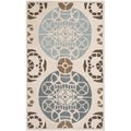 Handmade Marrakesh Beige/ Blue New Zealand Wool Rug (4' x 6')
