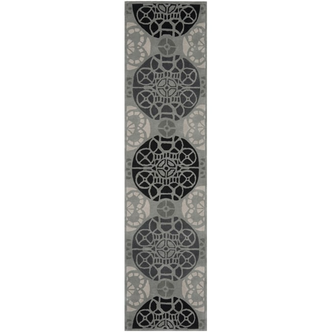 Handmade Marrakesh Grey/ Black New Zealand Wool Rug (2'3 x 9')