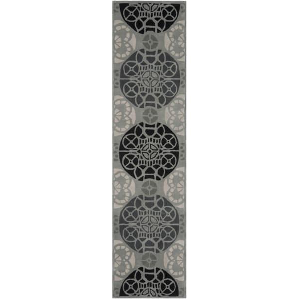 Safavieh Handmade Marrakesh Grey/ Black New Zealand Wool Rug (2'3 x 9')