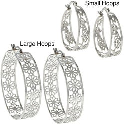 La Preciosa High-polish Stainless Steel Saddleback Hoop Earrings