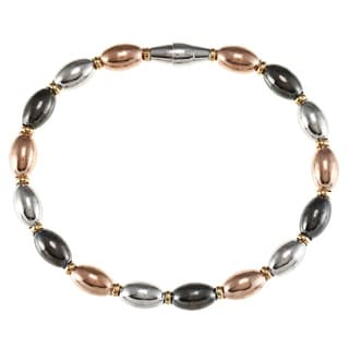 La Preciosa Sterling Silver Rose, Silver and Black Oval Bead Bracelet