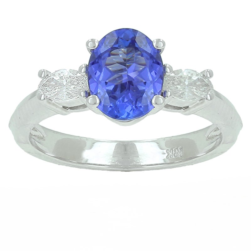 14k White Gold Tanzanite and 1/4ct TDW Diamond Ring (G-H, VS1-VS2)