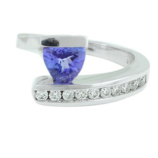 14k White Gold Tanzanite and 1/3ct TDW Diamond Ring (H-I, SI1-SI2 )