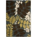 Newbury Ferns Blue/ Brown Rug (5'1 x 7'6)