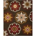 Newbury Snowfall Brown/ Red Rug (8' x 10')