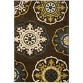 Newbury Snowfall Brown/ Blue Rug (5'1 x 7'6)
