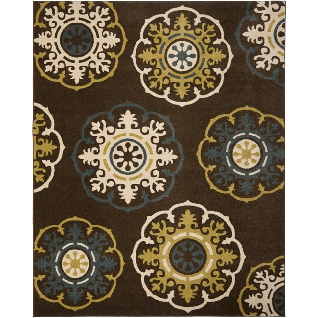 Safavieh Newbury Snowfall Brown/ Blue Rug (8' x 10')